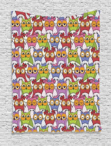 Supersoft Fleece Throw Blanket Owls Home Ornate Owl Crowd with Different Sights and Polka Dots Like Matryoshka Dolls Fun Retro Theme (Chucky Doll For Sale Cheap)