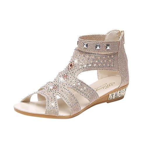 ASHOP Sandalias Mujer Bohemia Las Bailarinas Planas Zapatos de Cordones Verano Boca de Pescado Hueco Roma Moda Zapatillas De Playa Sandalias y Chanclas de ...