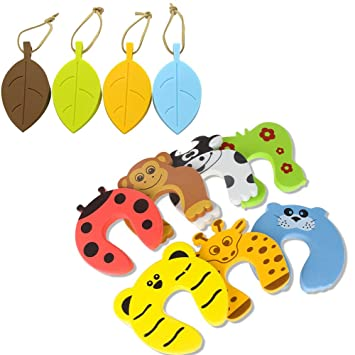 Amazon Com Safety Door Stop Wedge Guard 4 Pack Silicone Cute Leaf Style Door Stopper Wedge Finger Protector 7pack Finger Pinch Guards Colorful Animal Foam Door Window Stop Cushion For Baby Kids Safe Baby