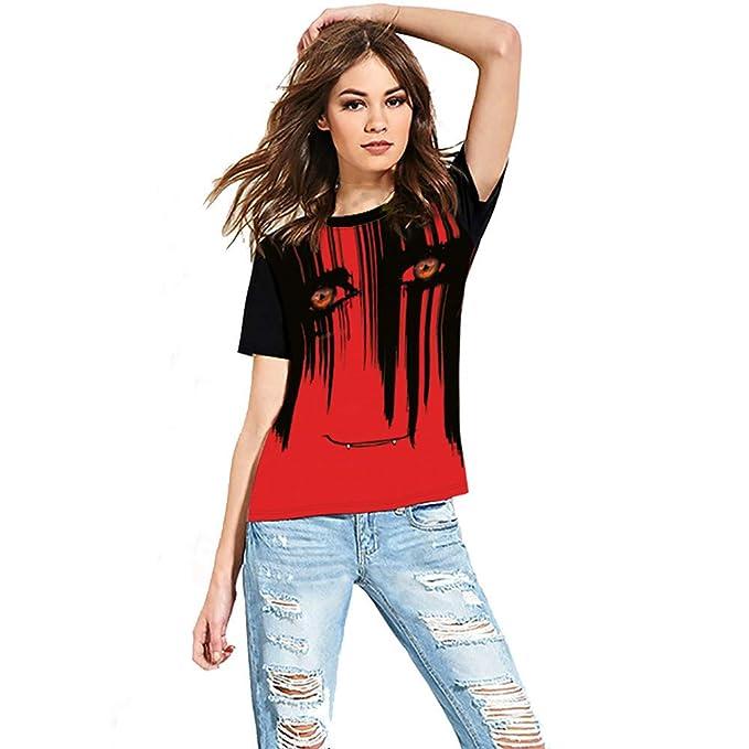 Halloween, BaZhai, Camisetas de Manga Corta Mujer Camisas de Manga Corta con Estampado de