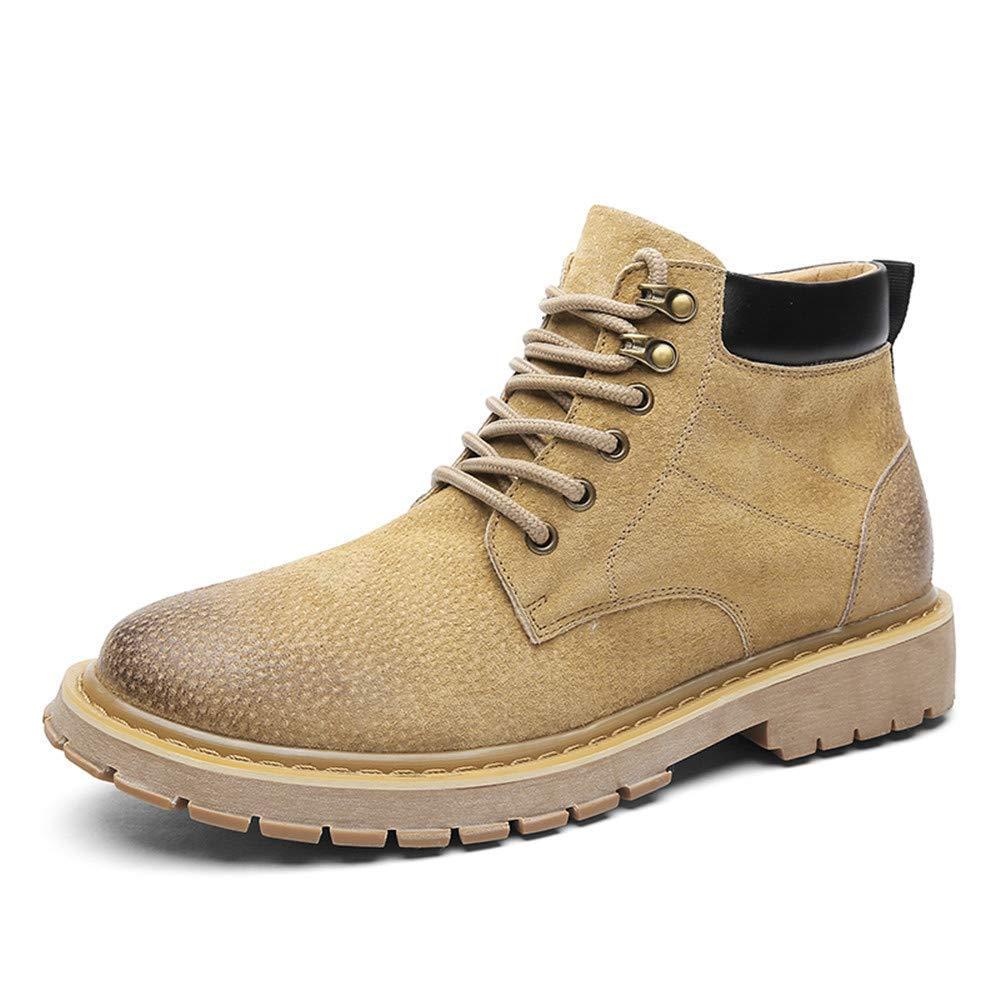 Herren Stiefel, Echtes Leder Freizeit Lace up Arbeitsstiefel (Farbe   Khaki, Größe   40 EU) (Farbe   Khaki, Größe   42 EU)