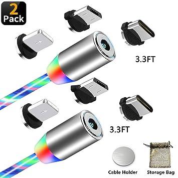 Kyerivs Cable USB Magnetico Cargador Multi 3 en 1 Luz Que ...