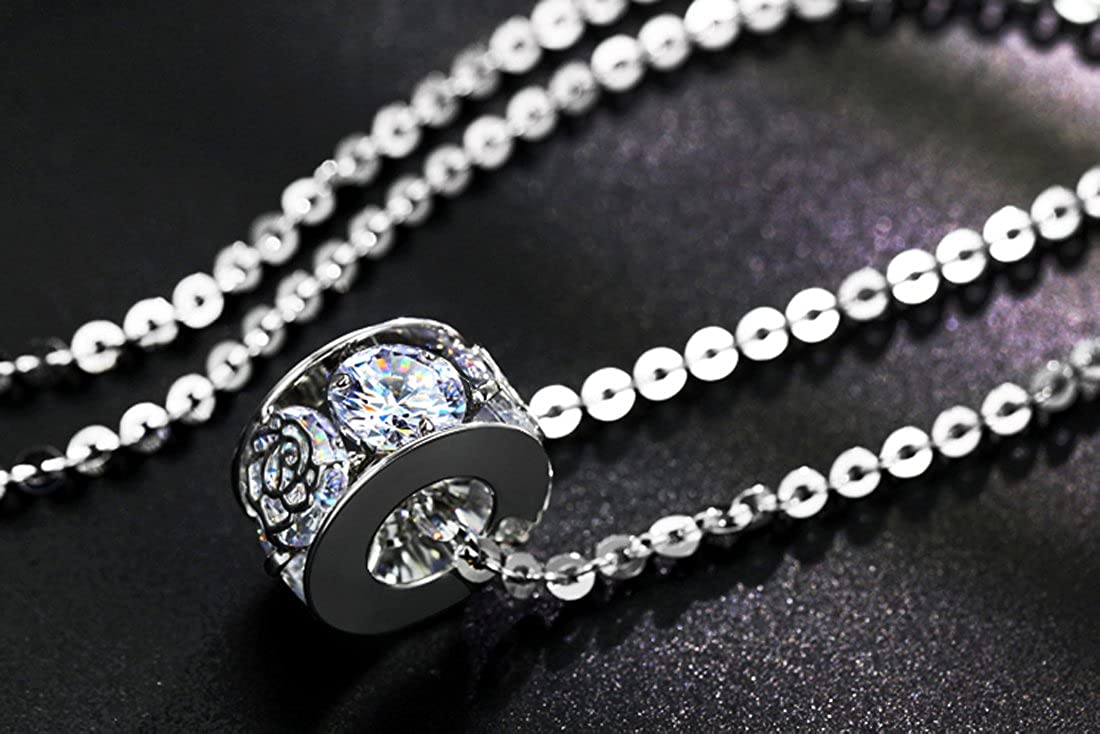 DuoTang Fashion Pendant Necklace Cubic Zirconia Circle Necklace Long Necklace For Women