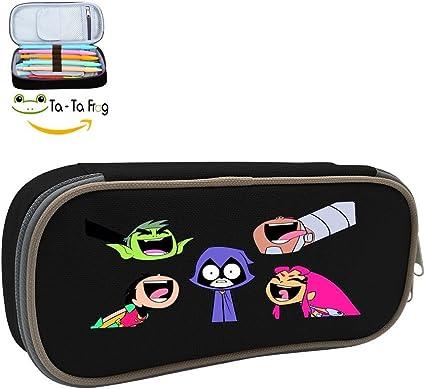 Teen Titans Go gran capacidad estuche de lona soporte para bolígrafos papelería portátil caso, color negro ONE_SIZE: Amazon.es: Oficina y papelería