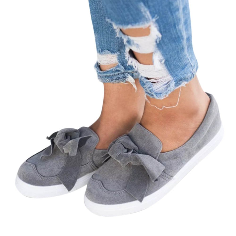 XMWEALTHY Women's Fashion Sneakers Walking Shoes Cute Bow Knot Slip On Loafers Flat Shoes Grey US 9.5