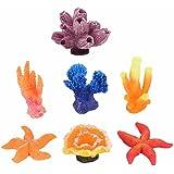 GOOTRADES 7 Stk Mini Künstliche Korallen Pflanzen für Fisch Tank Dekor Aquarium Riff Ornament