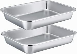 Stainless Steel Sheet Cake Pan Set of 2, E-far 10.6 x 8.3 x1.7 Inches Small Brownie Baking Pan, Rectangular High-Sided Cookie Sheet Pan Fit for Toaster Oven, Non-Toxic & Heavy Duty, Dishwasher Safe