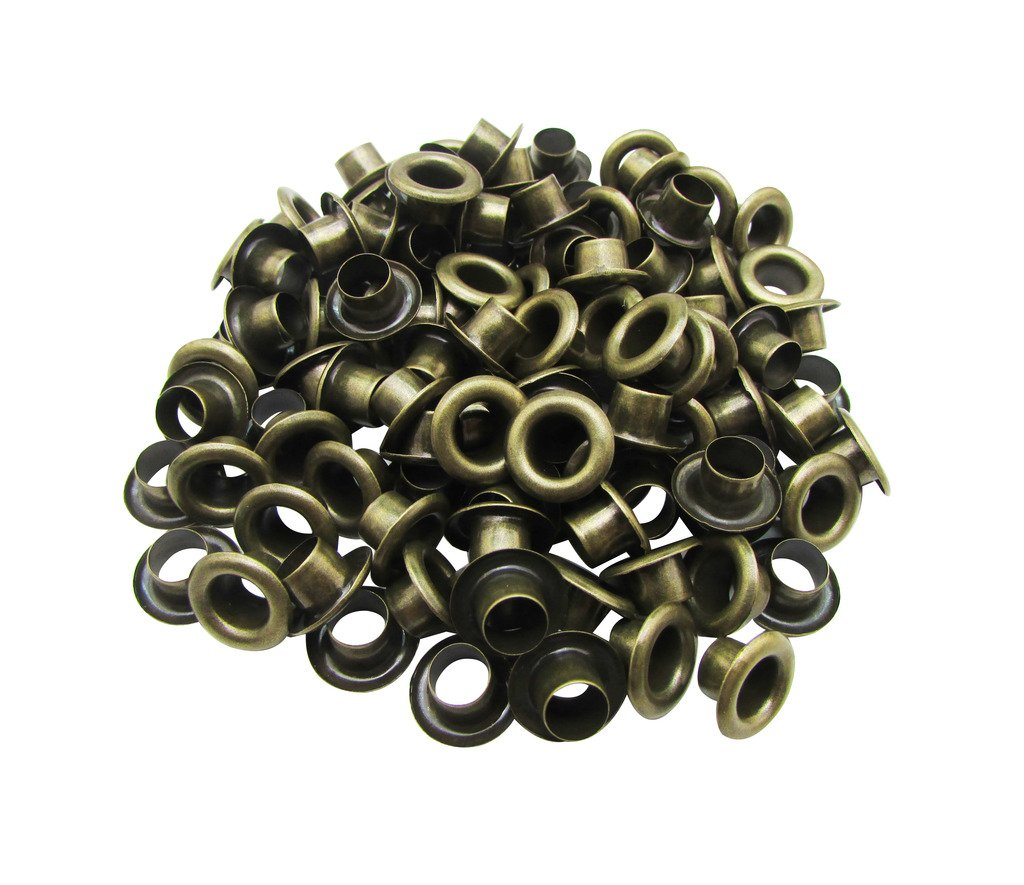 Amanaote 5mm Internal Hole Diameter Bronze Eyelets Grommets with Washer Self Backing Pack of 200 Sets