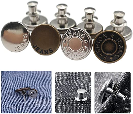 YaHoGa 8PCS Instant Buttons Jean Button Pins Replacement Removable Button No Sew Buttons for Pants Jeans Sewing Crafts DIY Clothes (17mm)