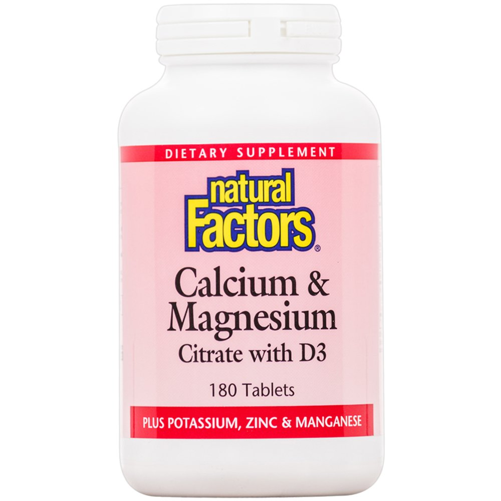 Natural Factors - Calcium & Magnesium Citrate with D, With Potassium, Zinc & Manganese, 180 Tablets