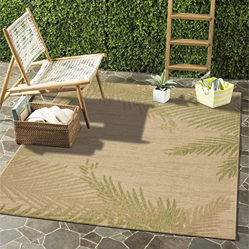 LV 5x7 Beige Green Tropical Palm Trees Area Rug Rectangle, Indoor/Outdoor Brown Nautical Beach Carpet for Patio Coastal Floor Mat Ocean Sea Cottage Lake House Marine Life Vacation, - Tree Palm Tropical Diamond