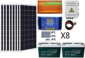 ECO-WORTHY 800 Watts Solar Panel Off Gird Kit: 8pcs 100W Poly Solar Panel + 200AH Battery + 3.5KW Off Grid Inverter + Combiner Box + 16ft Solar Cable + 60A Charge Controller + Z Mounting Brackets