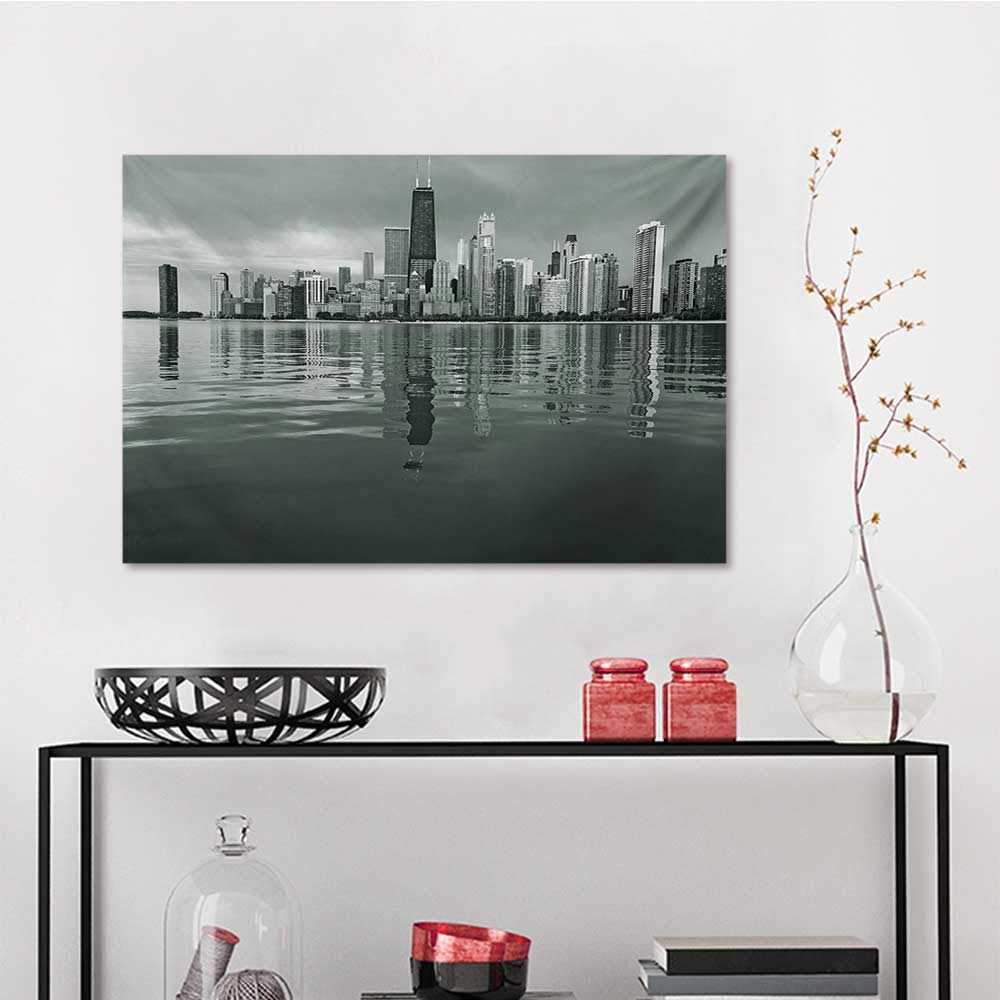 Amazon com: Abstract Painting Chicago Skyline Nostalgic