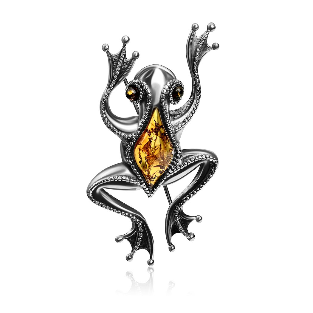 Amber Sterling Silver Frog Brooch