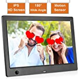 MRQ 10.1 Inch Digital Photo Frame, 1024x600 IPS Picture Video(1080P) Frame with Auto-Rotate, Motion Sensor, E-Book, Calendar, Alarm, Supports Multiple File Formats and External USB and SD Card-Black (Tamaño: Motion Sensor 10.1 Inch)