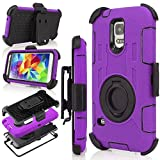 Galaxy S5 Case, S5 Case, Jwest Shockproof Hybrid Rugged Samsung Galaxy S5 Case Rubber Three Layer Holster Case for Samsung Galaxy S5 with Built-in Rotating Stand and Belt Swivel Clip Purple/Black