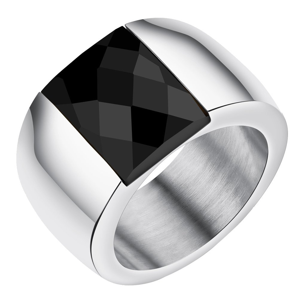 Onefeart Stainless Steel Ring For Men Boy Square Crystal Wide Design Smooth Male Ring Silver US Size 7