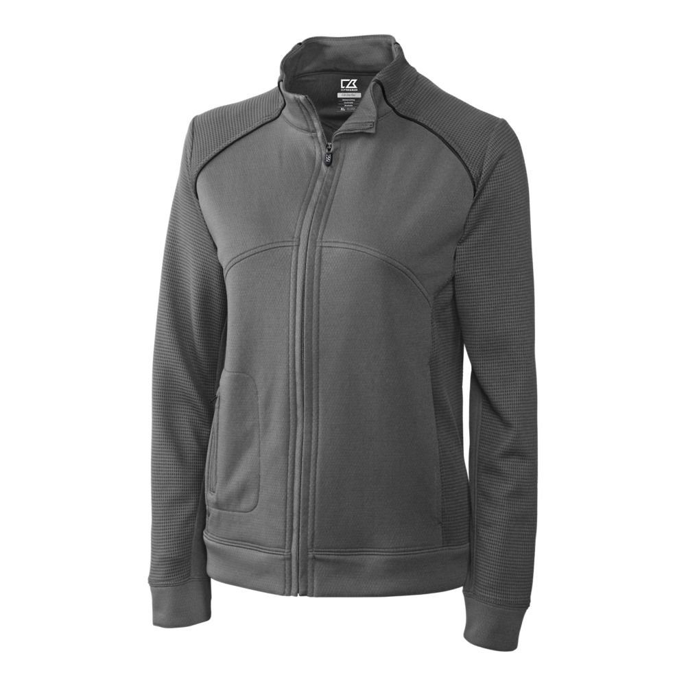 Cutter & Buck Women's Drytec Edge Full Zip Jacket, Elemental Grey/Black, XXXL