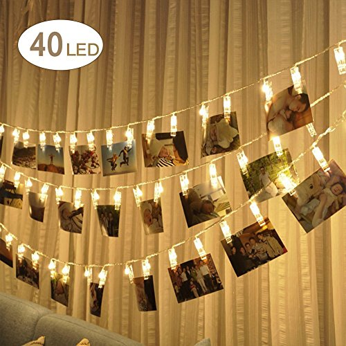 Lilys Gift 40LED Photo Window Hanging Peg Clip String Light Lamp for Wedding Party Christmas Home Decor, Hanging Photos Warm White