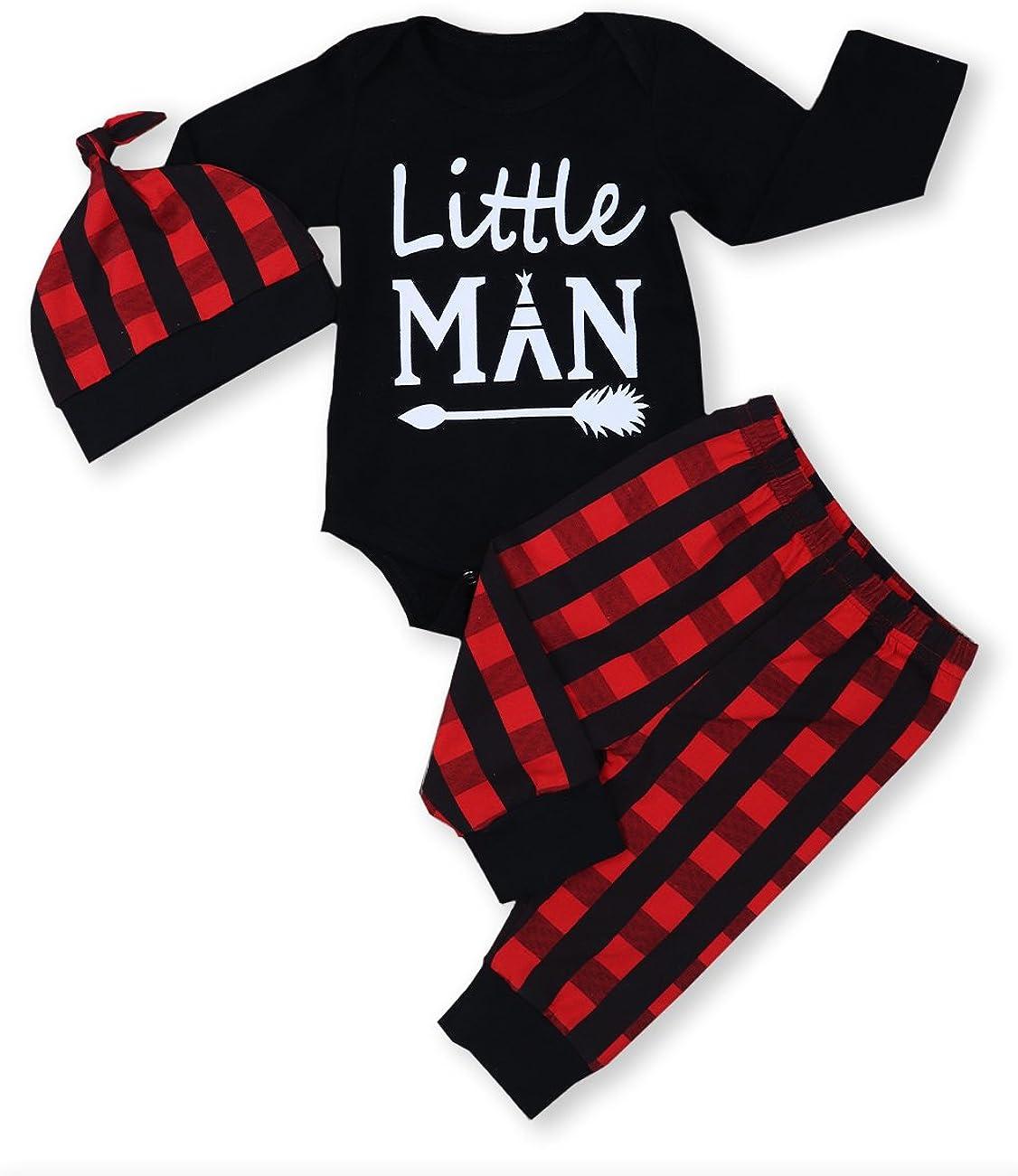 Newborn Infant Baby Boy Clothes Long Sleeve Romper,Deer Plaid Pant Little Man Hat 3Pcs Outfits Set