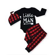 Newborn Baby Boy Girl Clothes Little Man Long Sleeve Romper,Plaid Pants + Cute Hat 3pcs Outfit Set (A-Black,6-12 Months)