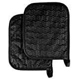 Pot Holder Set With Silicone Grip, Quilted And Heat Resistant (Set of 2) By Lavish Home (Black)