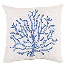 1 Piece 18x18 Blue Beige Beach Theme Throw Pillow, Jacquard Pattern Boat Coral Sailing Nautical Ocean Theme Pillows Lake House Cottage Coastal Sea Ocean Sand Indoor Outdoor, Polyester