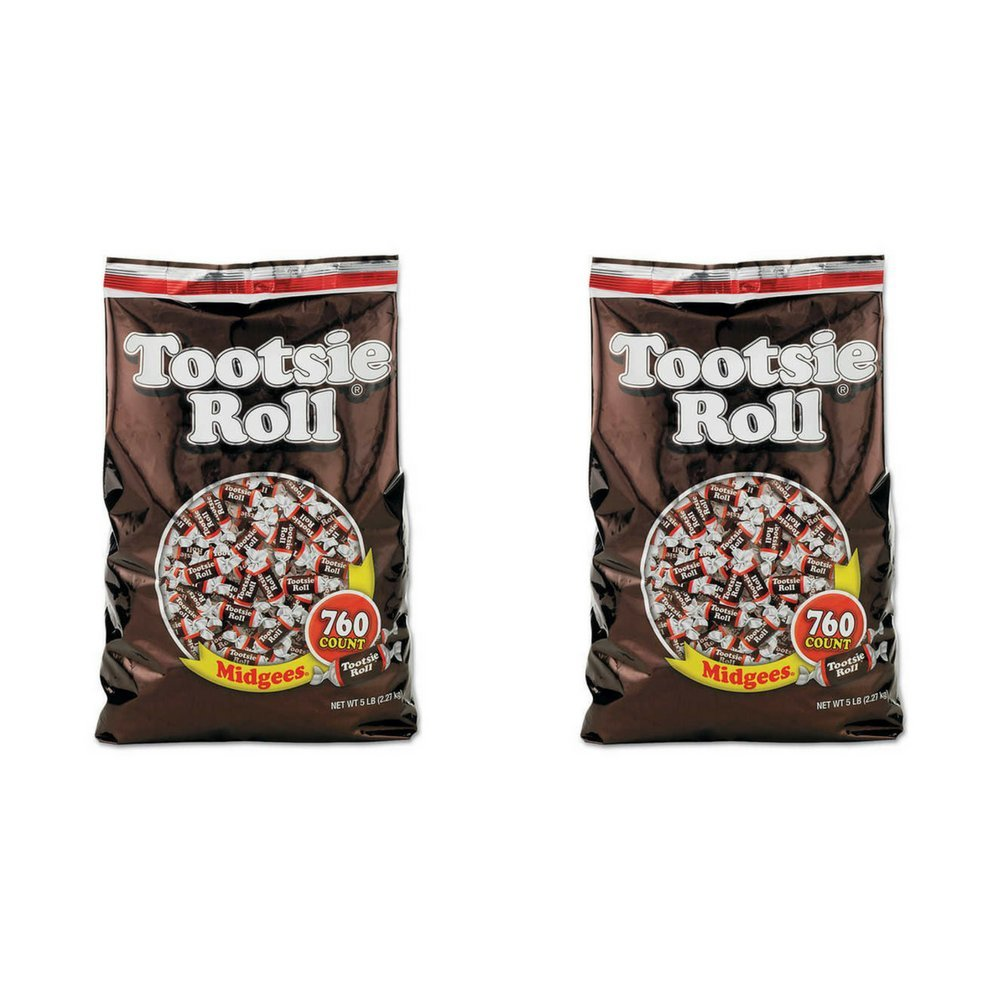 Tootsie Roll Midgees Candy 5 Pound Value Bag 760 Pieces (2 PACKS) by Tootsie