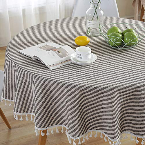 Lahome Stripe Tassel Tablecloth - Cotton Linen Table Cover Kitchen Dining Room Restaurant Party Decoration (Round - 60