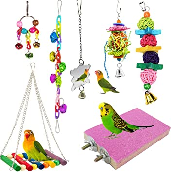 Love Birds Conures Bebester Bird Chewing Toys Bird Parrot Toys Parrot Cage Toys Colorful Swing Chewing Toy for Small Parrots Macaws Cockatiels Parakeets