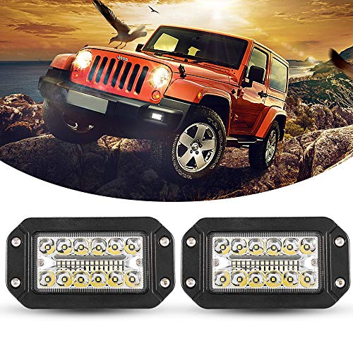 Flush Mount LED Light Pods, BUNKER INDUST 2Pcs 6 Inch Spot Flood Combo Beam 6000 LM Triple Row Driving Off Road Light Bar Waterproof Led Work Light for Golf Cart Jeep Trucks Tractor SUV 4x4 ATV UTV