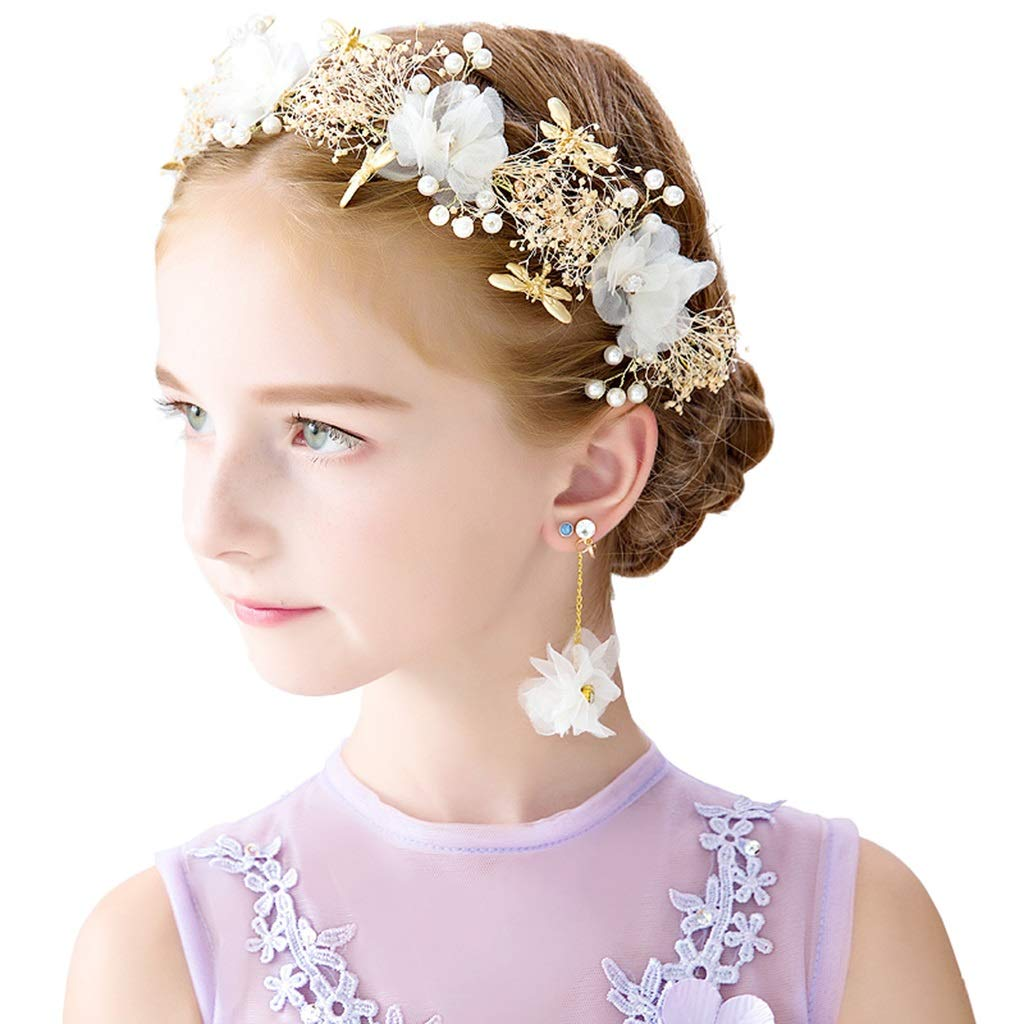 Wreath Flower Girl Crown Princess Headdress Children Hair Accessories Rhinestone Show Accessories