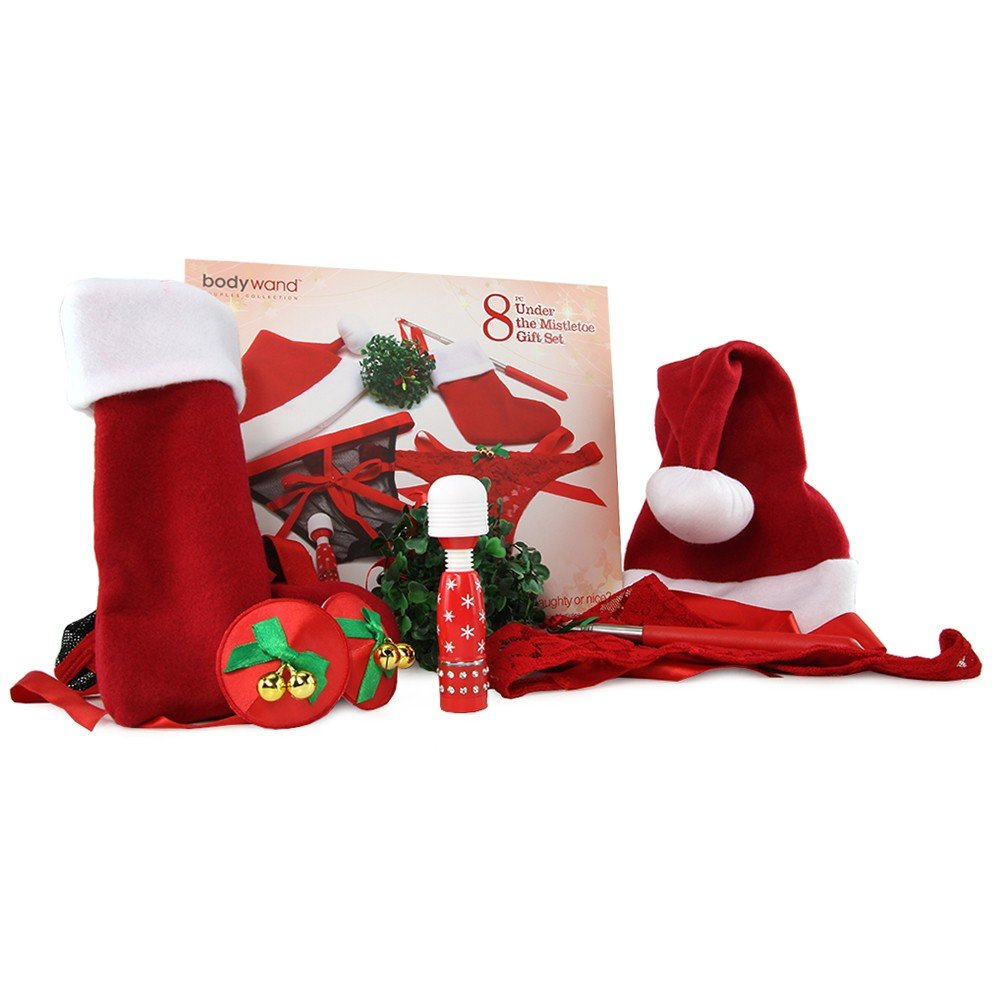 Xmas Bundle Box Lingerie Thong Stocking Hat Red for Couple and Blindfold Holiday Christmas by Xmas Bundle Box
