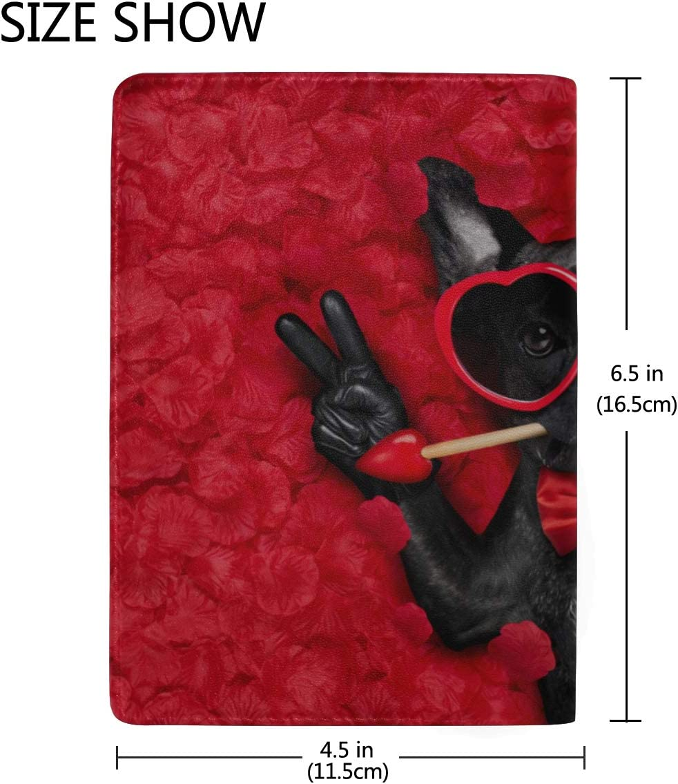 Dog Lying In Bed Full Of Red Flower Blocking Print Passport Holder Cover Case Travel Luggage Passport Wallet Card Holder Made With Leather For Men Women Kids Family