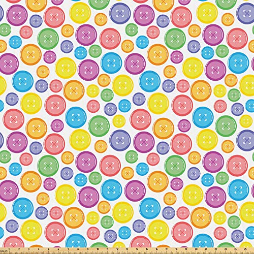 Ambesonne Modern Fabric by The Yard, Circular Shaped Buttons Pattern in Various Sizes Kids Nursery Baby Print, Microfiber Fabric for Arts and Crafts Textiles & Decor, 1 Yard, Red Aqua from Ambesonne