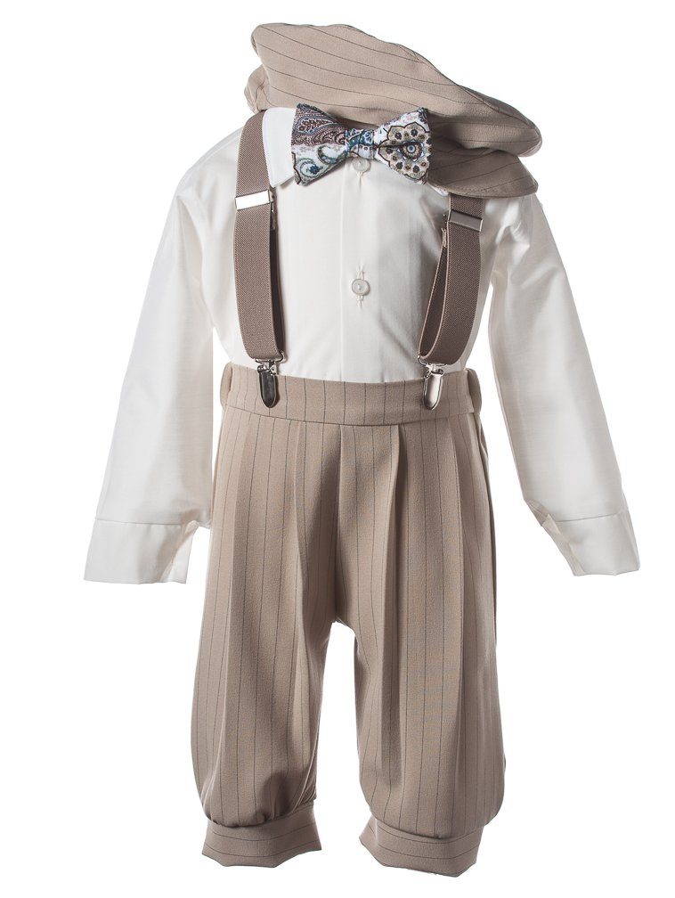 Tuxgear Boys Tan Knicker Set with Blue Paisley Bow Tie and Suspenders, 6 Boys by Tuxgear