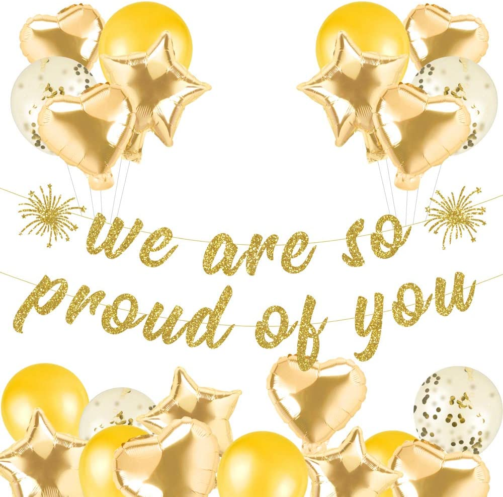Gold Glittery We are So Proud of You Banner, Congratulations Banner -Graduation Party/Grad Party Decorations