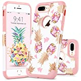 GUAGUA iPhone 7 Plus Case iPhone 8 Plus Case Colorful Pineapple Slim Hybrid Hard PC Soft Silicone Anti-slip Shockproof Protective Case for iPhone 7 Plus/8 Plus Case for Girls&Women Rose Gold White