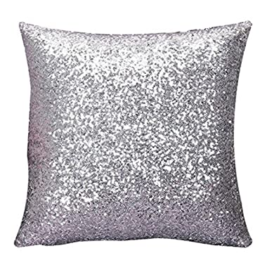 Silver Sequins Cushion Cover Throw Pillow Case Sofa Decor invisible zipper design16*16