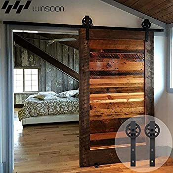 WINSOON Single Wood Sliding Barn Door Hardware Basic Black Big Spoke Wheel  Roller Kit Garage Closet Carbon Steel Flat Track System (10FT)