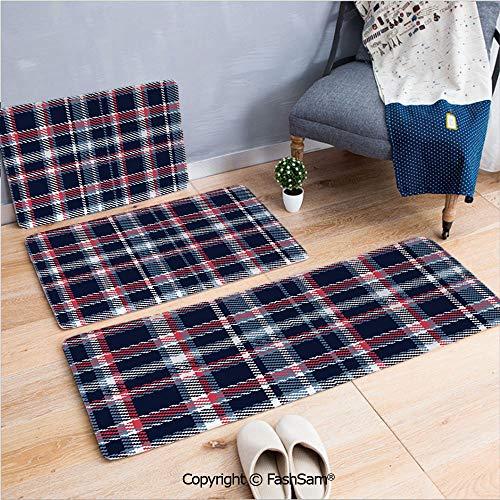 (FashSam 3 Piece Non Slip Flannel Door Mat Retro Plaid Pattern Geometrical Pixelated Seem Mosaic Design Decorative Indoor Carpet for Bath Kitchen(W15.7xL23.6 by W19.6xL31.5 by W31.4xL47.2))