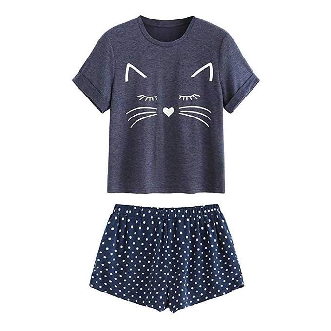 ZARLLE-pijama Mujer Pijama de Algodón con Gato Estampado Mujer Verano Corto Conjunto de Pijamas Pantalones Manga Corto 2 Piezas: Amazon.es: Ropa y ...