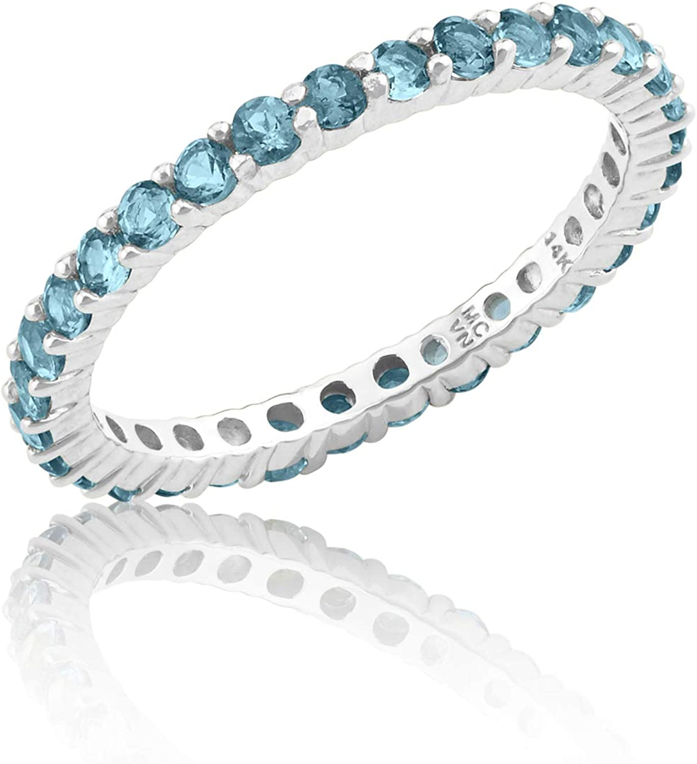 14K Solid Yellow or White Gold Genuine London Blue Topaz Eternity Ring (2mm)