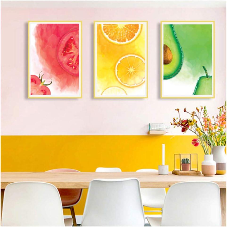 czjungbf Impresiones Modernas de Frutas de Acuarela Pinturas de Lienzo de Arte Bodegones Carteles Cuadros de Pared para Cocina Decoraciones para el hogar Regalo-50x70 cm sin Marco