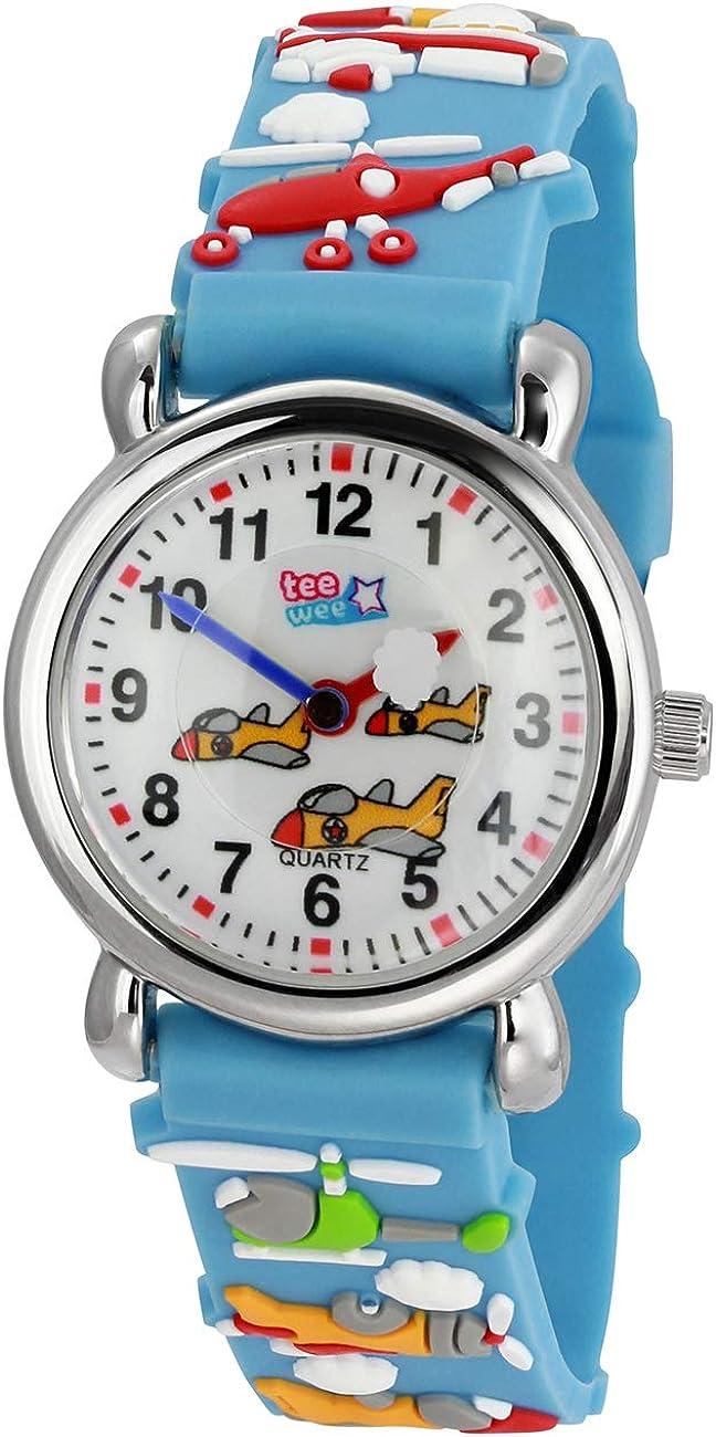 Té de Wee Reloj de Cuarzo Infantil Aviones 27mm Caucho Pulsera Turquesa uw348t