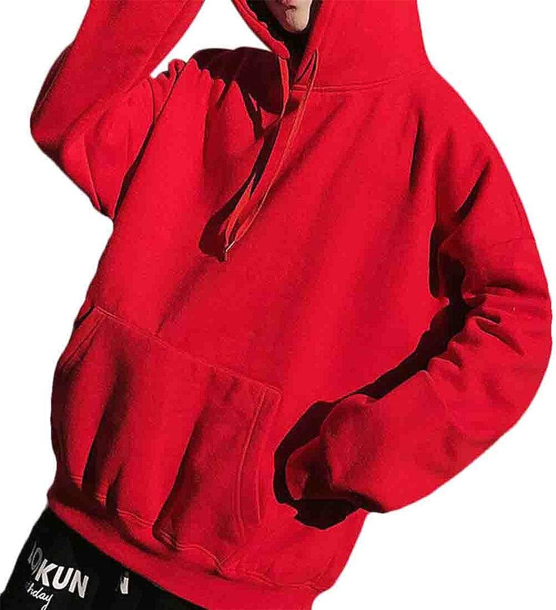 Hurrg Mens Hooded Winter Drawstring Thicken Plain Hip-hop Pocket Pullover Sweatshirt