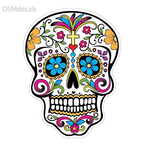 OSMdecals - Sugar Skull Sticker Version 32 - Day of the Dead Vinyl Wall Home Decor Car Window Bumper Decal Sticker