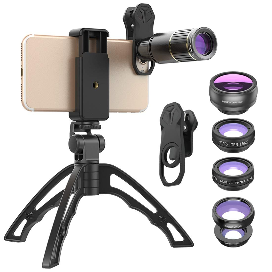 Kathleen Chance Smartphones 6in1 Phone Camera Lens Kit 16x Telephoto Lens+Fisheye/Star Filter/CPL/Wide Angle/Macro Lens with Tripod for iPhone Samsung Most