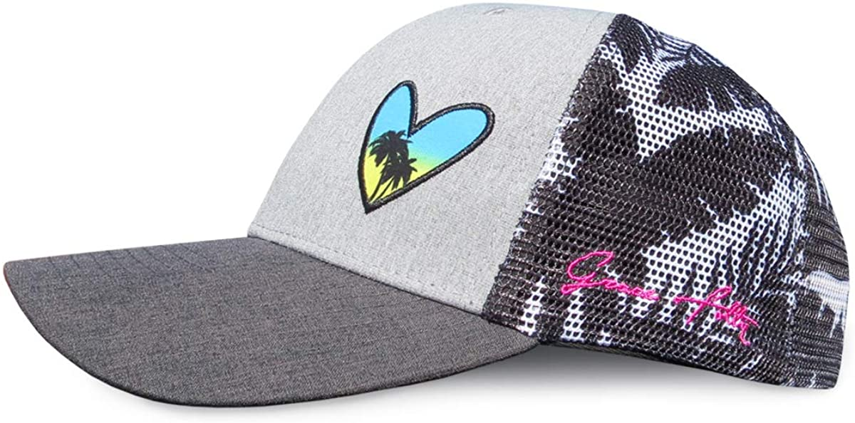 Grace Folly Beach Trucker Hats for Women- Snapback Baseball Cap for Summer (Heart with Floral Print): Clothing