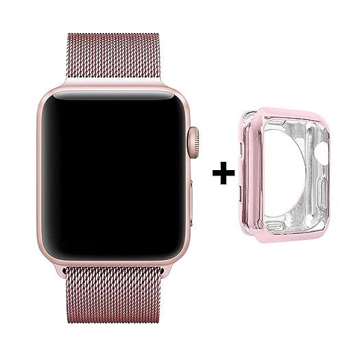 4 opinioni per Cinturino e Custodia per Apple Watch 38mm, Anello in Maglia Milanese in Acciaio